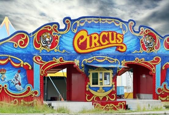 Entry of a old circus under blue sky