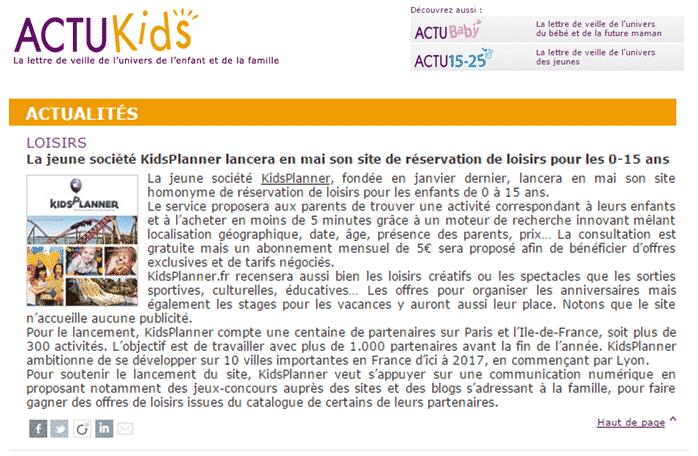 Kidsplanner dans Actukids