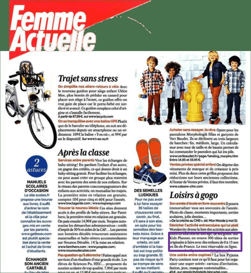 Kidsplanner dans Femme Actuelle