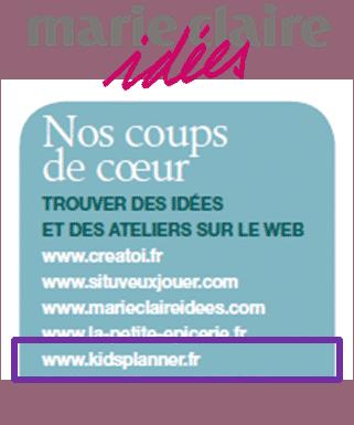 Kidsplanner dans Marie Claire idées